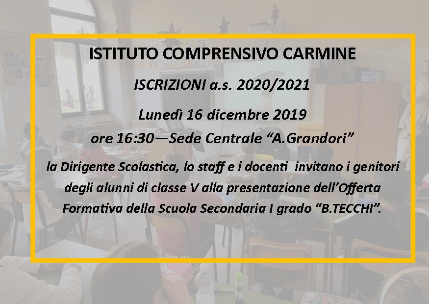 """Conferenza di presentazione Scuola  """"B.Tecchi"""" a.s. 2020/2021"""